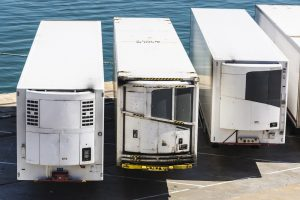 Reefer containers waiting to board at the port of Barcelona, Catalonia, Spain