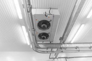 Refrigeration chamber for food storage. Warehouse freezer, Cold storage.