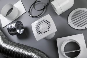 group of ventilation system objects on gray background